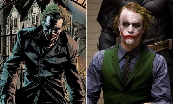Image result for Heath Ledger Joker comic comparison